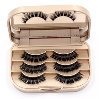 3 Pairs New Women Ladies 3d mink lashes strips Natural Makeup Handmade Thick Long Black Fake Cross False Eyelashes Eye Lashes