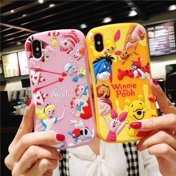3D Cute Winnie case For iphone X Piglet Soft cover For iphone 8plus 7plus 7 8 6 6s 6plus Alice in Wonderland cover fundas