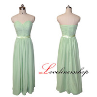 Custom color green chiffon strapless A line long bridesmaid dress with sashes floor length evening prom dress elegant