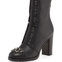 Datchet Crystal-Toe Combat Boot, Black - Jimmy Choo - Black (37.5B/7.5B)