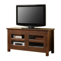 """44"""" Wood TV Stand with Glass Doors (Brown) (44""""W x 24""""H x 16""""D)"""