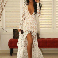 White Mermaid Prom Dresses 2016 Sexy Deep V Neck Long Sleeves Evening Dress High Split Elegant White Lace Prom Dress