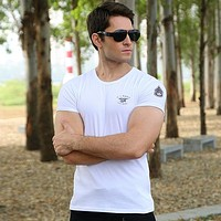Solid Color Men's Cotton Elastic Style Casual T-shirt Shirt Top Tee