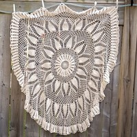 "Round Crochet Tablecloth, 49"" Diameter Light Ecru/Cream Crocheted Table Topper, Lacy Pineapple Pattern Throw or Shawl, Cottage Chic Wedding"