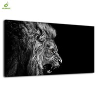 JHLJIAJUN Black And White Canvas Painting Wolf Lion Animals Prints And Posters Wall Art For Living Room Home Decor Pictures
