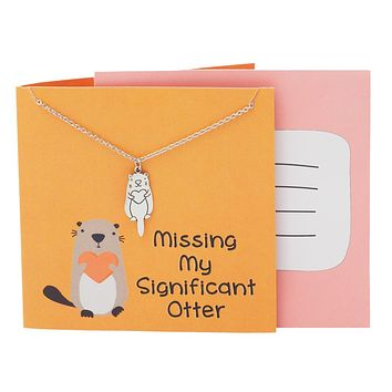 Gia Otter Necklace Funny Puns Gifts for Girlfriend, Missing my Significant Otter