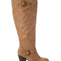 FOREVER 21 Faux Suede Knee-High Boots Taupe