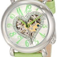 """Stuhrling Original Women's 109SW.1215D2 """"Amour"""" Stainless Steel Watch with Green Leather Band"""