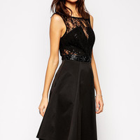 Black Sleeveless Floral Lace with Deep V-Cut Back Pleated Dress