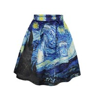 2016 summer Fashion Pleated Maxi Skirt casual skirts High Waist Van Gogh's Starry Night Print skirts for women