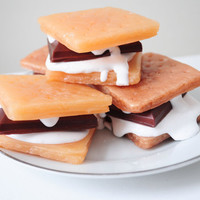 S'mores Soap - food soap - vegan soap - scented graham cracker, rich chocolate and marshmallow
