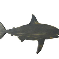 Great White Shark in Weathered Grey Stain  Wood Sign Wall Decor Rustic Americana Nautical Coastal Country Chic Photo prop