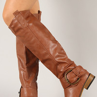 Bamboo Parksville-01 Crinkle Buckle Riding Knee High Boot