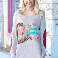 Santa: Country Christmas Y'all Lace Elbow Patch Sweater - KIDS + ADULTS