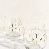 Metallic Cactus Stemless Wine Glass Set | Urban Outfitters