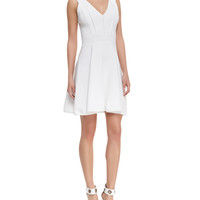Women's Textured Knit Sleeveless Flared Dress - Milly - White (LARGE)