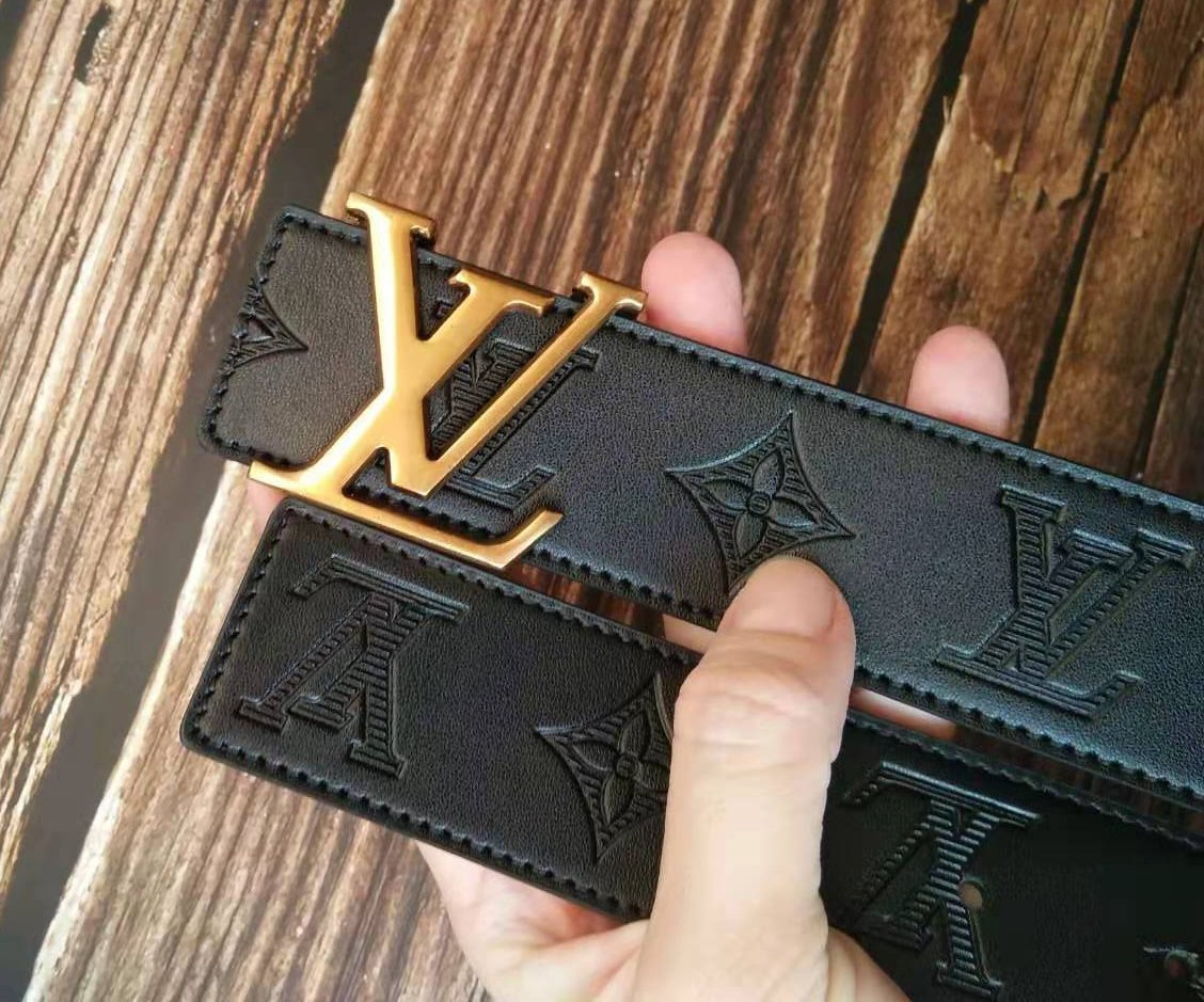 Image of LV Louis Vuitton Woman Men Stylish Smooth Buckle Belt Leather Belt