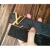 Inseva LV Louis Vuitton Woman Men Stylish Smooth Buckle Belt Leather Belt