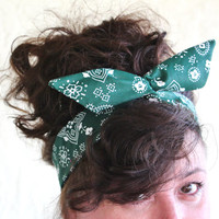 Hunter Green Bandana Dolly Bow Headband Hunter Green Bandanna Hair Accessory for Teens Girls Women Rockabilly