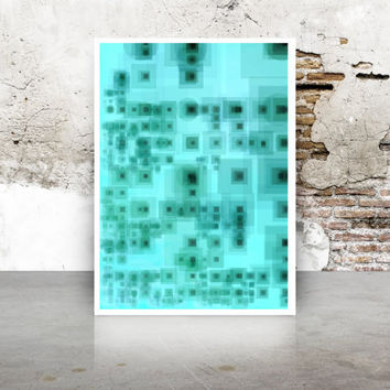 Abstract Generative Art Dividing Bubbles and Boxes growthBoxes_9x, Limited Edition Giclee 8x10, geeky wall art. teal blue abstract art