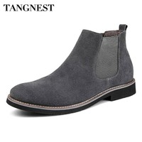 Tangnest Men's British Style Suede & Leather Chelsea Boots