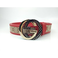 GUCCI Stylish and high-end joker belt printed smooth buckle belt