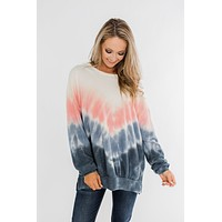 Be My Someone Tie Dye Pullover Top- Pink & Navy