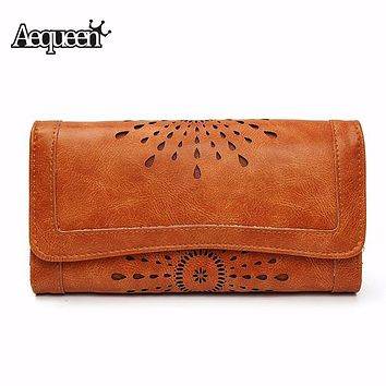 AEQUEEN Wallets Women Hollow Out Leather Long Purse Women Coin Purses Brand Designer Purse Lady Clutch Money Credit Card Holder