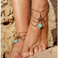 Turquoise Silver Anklet Chic Tassel Foot Chain Ankle Bracelet Body Jewelry Anklets For Women