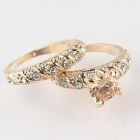 0 Fashion 2Pcs/Set 18K Gold Filled Round Cut Wedding Engagement Solid Ring Set Size 7 8 9