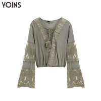 YOINS Women 2016 Summer Vintage Lace Crochet Splice BOHO Blouse Crop Top Sexy Bandage Patchwork Hollow Flare Sleeve Shirt Blusas