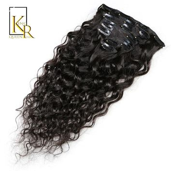 Natural Wave Clip In Human Hair Extensions Natural Color 100% Human Hair Clip-in Full Head 8 Pcs Remy Hair 120G King Rosa Queen