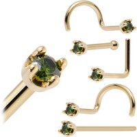 Solid 18KT Yellow Gold (May) 1.5mm Genuine Green Diamond Nose Ring