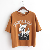 Short Sleeve T-shirt Printed with Cool Old Head
