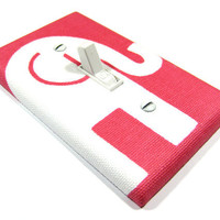 Light Switch Cover Bright Pink and White Elephant Nursery Decor Modern Kids Room Gender Neutral 965