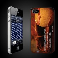 Baseball Theme iPhone Hard Case Babe Ruth Quote - Clear Protective for iPhone 4/4s