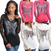 New Womens Long Sleeve Lace Sheer Tattoo Sublimation Top BLouse Tunic Shirt S-XL