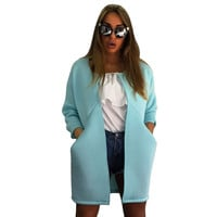 Blue Casual Open Front Large Pockets Long Sleeves Warm Midi Coat for Women