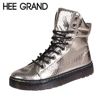 HEE GRAND Fashion Bling Snake skin Women Boots 2016 Flat Shoes Woman Lace-up Motorcycl