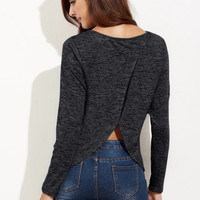 Crossover Back Marled Knit T-shirt -SheIn(Sheinside)