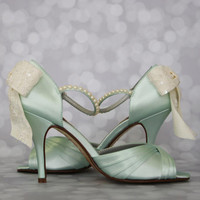 Wedding Shoes -- Mint Peep Toe Wedding Shoes with Ivory Lace Overlay Bow and Pearl Covered Ankle Strap