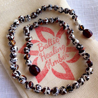 Baby Baltic Healing Amber necklace designed with 100% Baltic dark green and dark cherry amber mixed with white in round bead.
