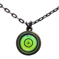 Small bullseye level necklace with brass chain