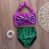 Kids swimwear girls two pieces child swimsuit with Bow mermaid tails for children bikini set baby girls swim suits custome