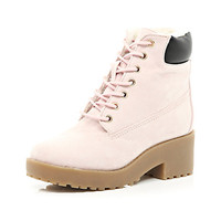 River Island Girls pink lace up boot