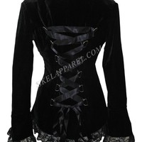 Plus Womens Gothic Victorian Steampunk Black Velvet Corset and Lace Jacket