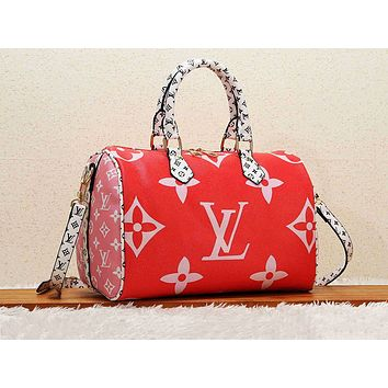 Louis vuitton casual lady shoulder bag hot seller with printed shopping matching color Red
