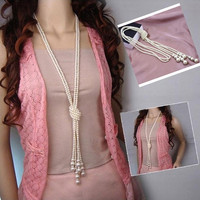 Fashion White Artificial Pearls Long Chain Charms Necklace (Size: 2, Color: White) = 1946548484