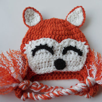 Fox Hat - Orange and White Hat - Baby to Adult Sizing - Photo Prop - Handmade Crochet - Made to Order