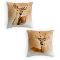 Deer Throw Pillow, Wildlife Scatter Cushion, Stag, Doe, Country Garden Decor, Cushion Cover